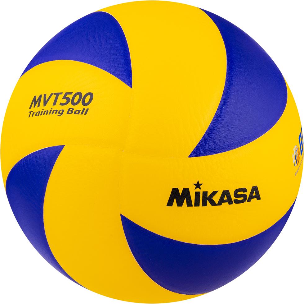 Мяч волейбольный Mikasa MVT 500, цвет: желтый, синий, размер 5 чешки для мальчика aruna волейбольный мяч цвет белый голубой 61 волейбольный мяч размер 27 29