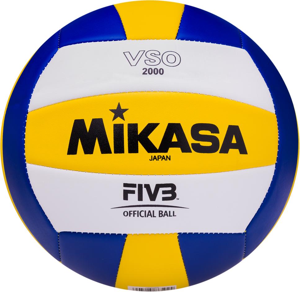 Мяч волейбольный Mikasa VSO 2000, цвет: белый, желтый, синий, размер 5 цена и фото