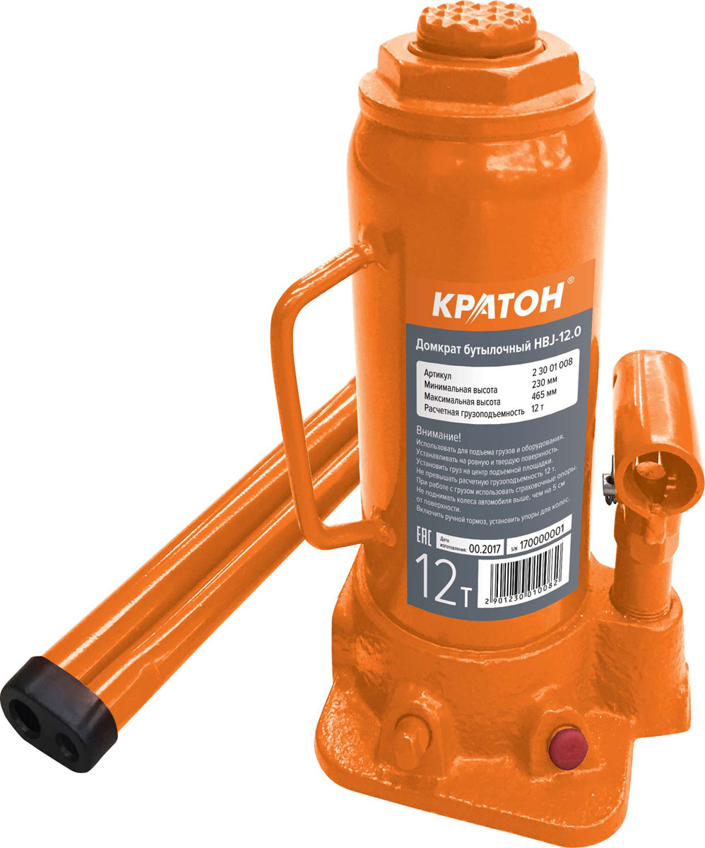 Домкрат бутылочный Кратон HBJ-12.0, высота подъема 46 см перфоратор кратон rhe 450 12 3 07 01 022