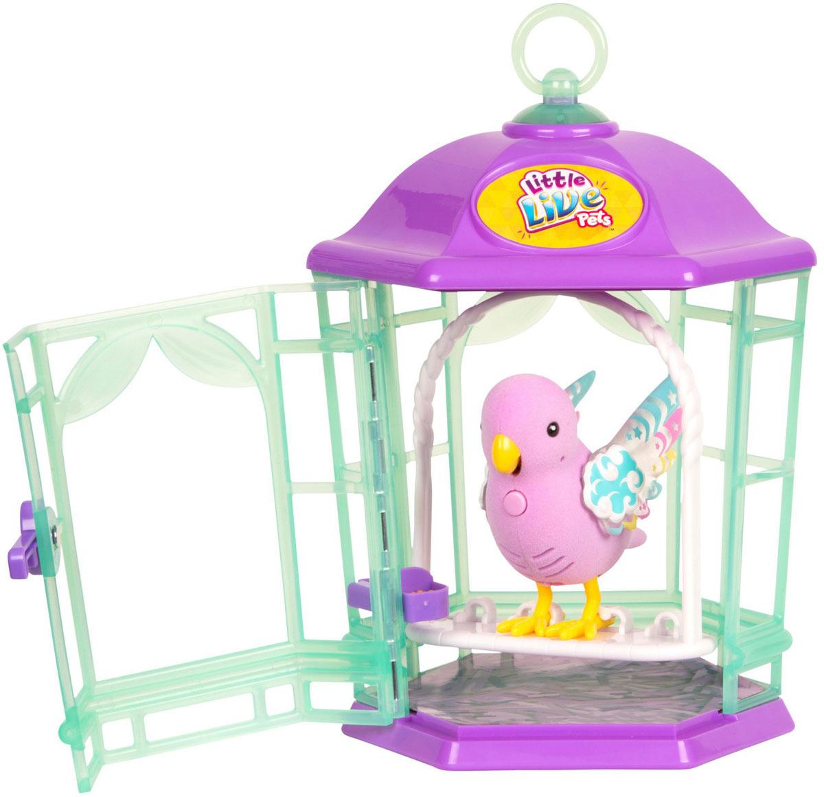 Интерактивная игрушка Little Live Pets Птичка с клеткой со светящимися крылышками. Радужный свет цена