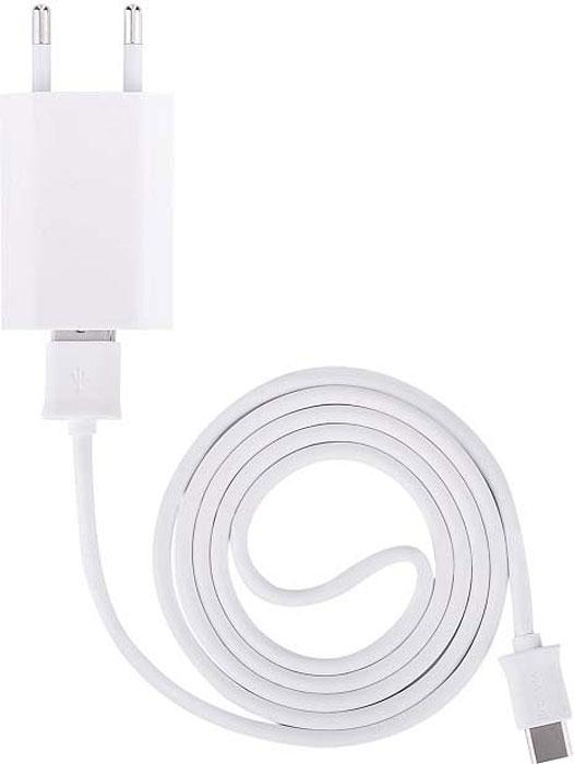 Набор: сетевое зарядное устройство 1A Devia + кабель USB-Type-C, белый цена 2017