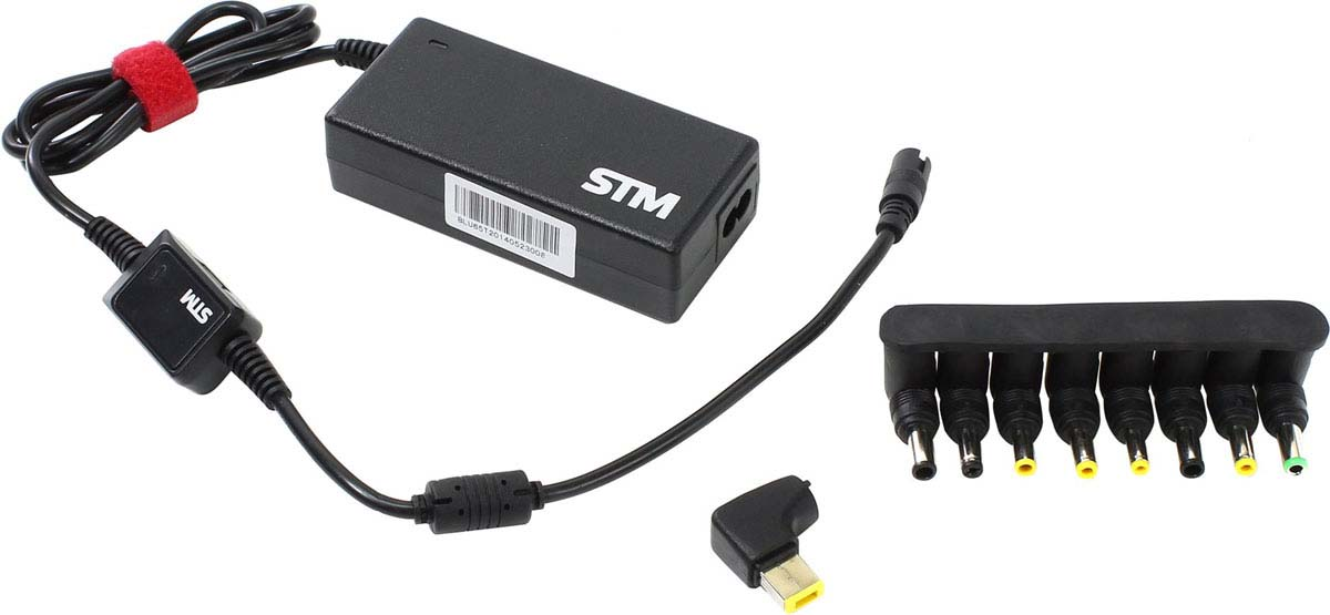 Адаптер питания для ноутбуков STM BLC 65, Black универсальный, с USB Type-C блок питания для ноутбука storm stm blu65 универсальный 19 в 65 вт 9 адаптеров черный