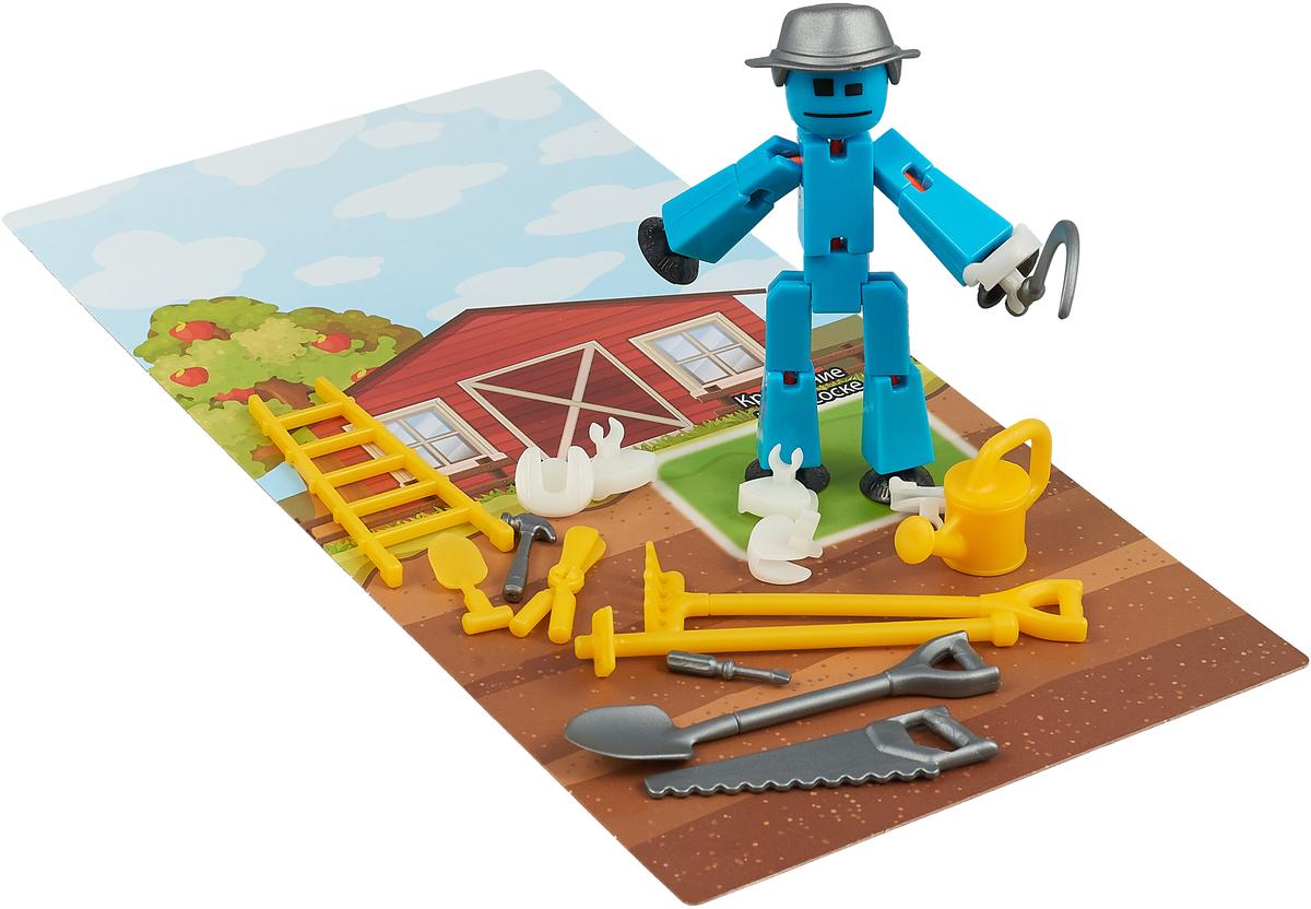 Фигурка с аксессуарами Stikbot Дачник, цвет: голубой, серый, желтый