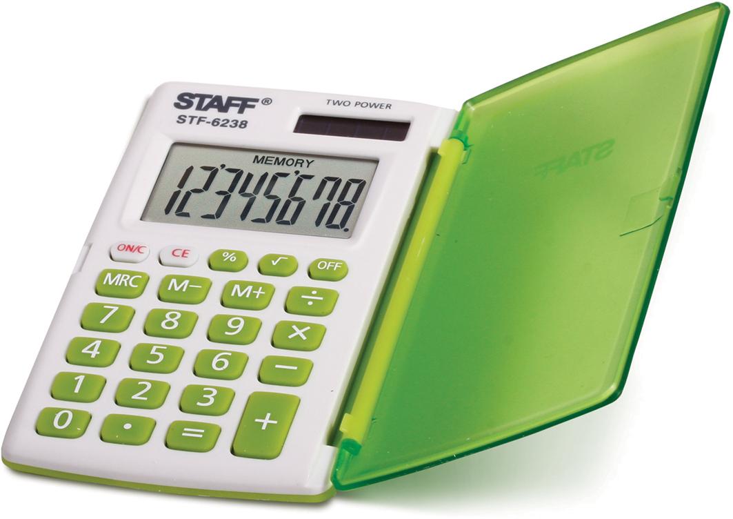 Калькулятор карманный Staff STF-6238, цвет: белый, зеленый канцелярия staff калькулятор карманный stf 6238