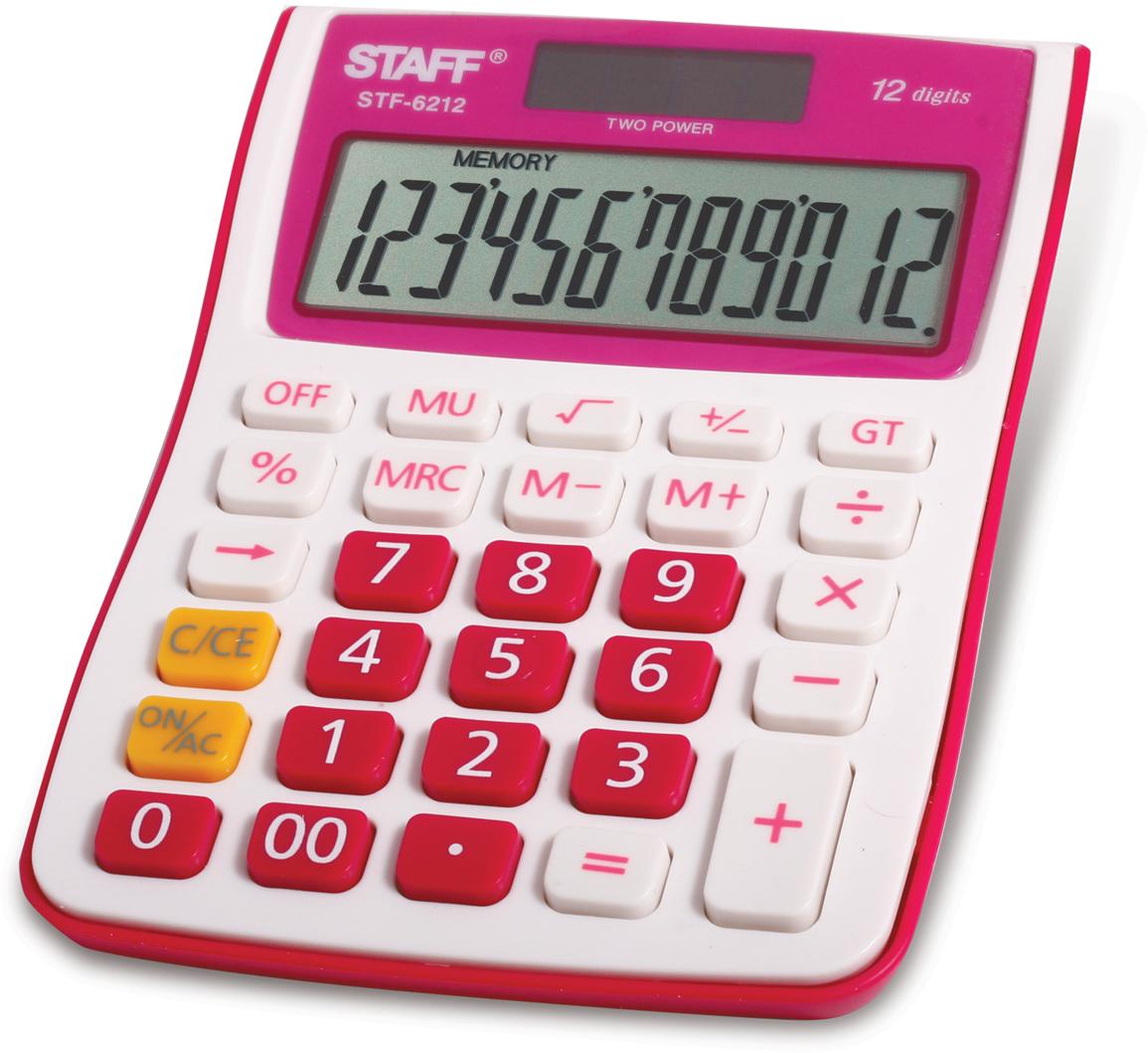 Калькулятор настольный Staff STF-6212, цвет: малиновый канцелярия staff калькулятор карманный stf 6238