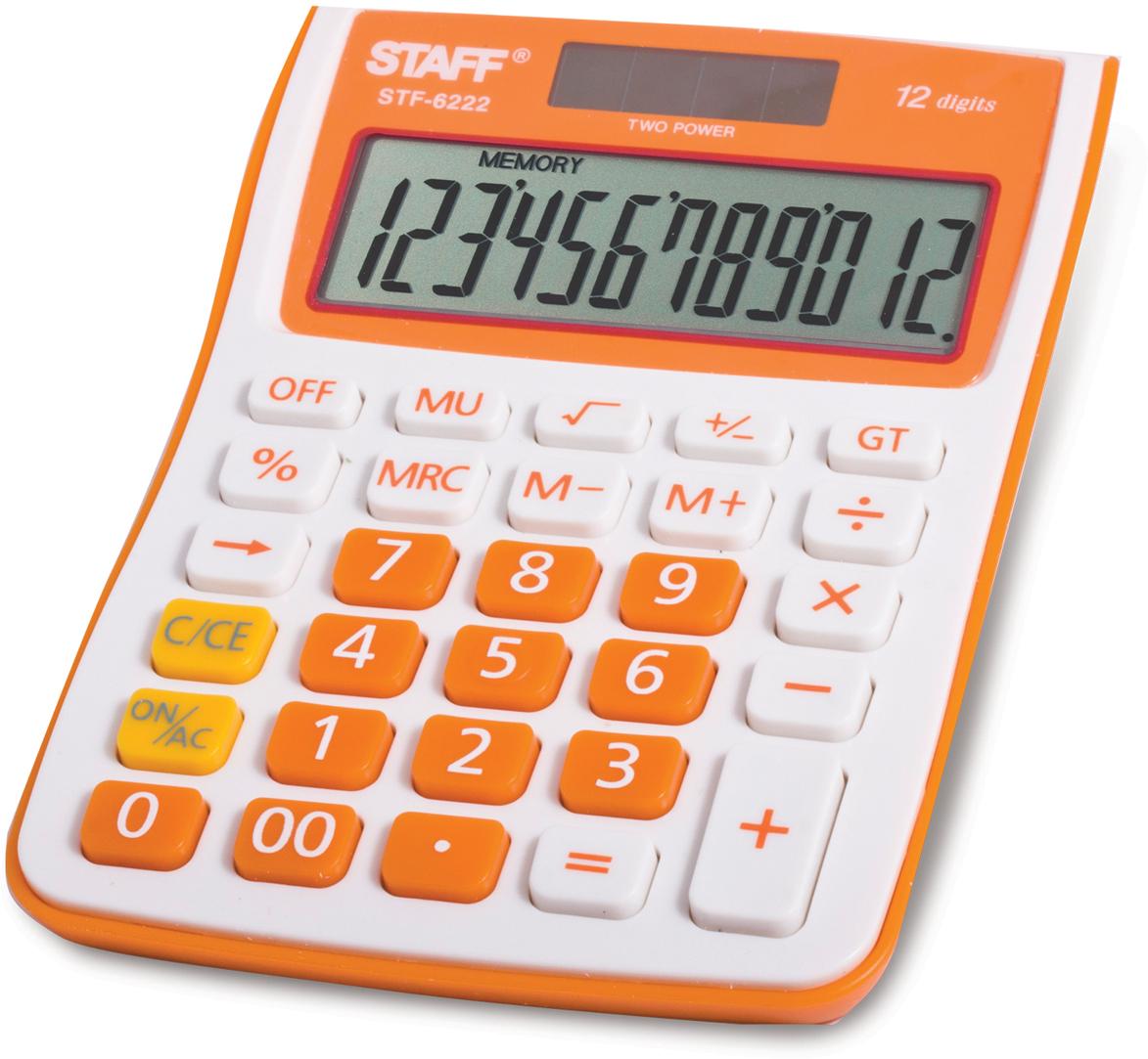 Калькулятор настольный Staff STF-6222, цвет: оранжевый канцелярия staff калькулятор карманный stf 6238