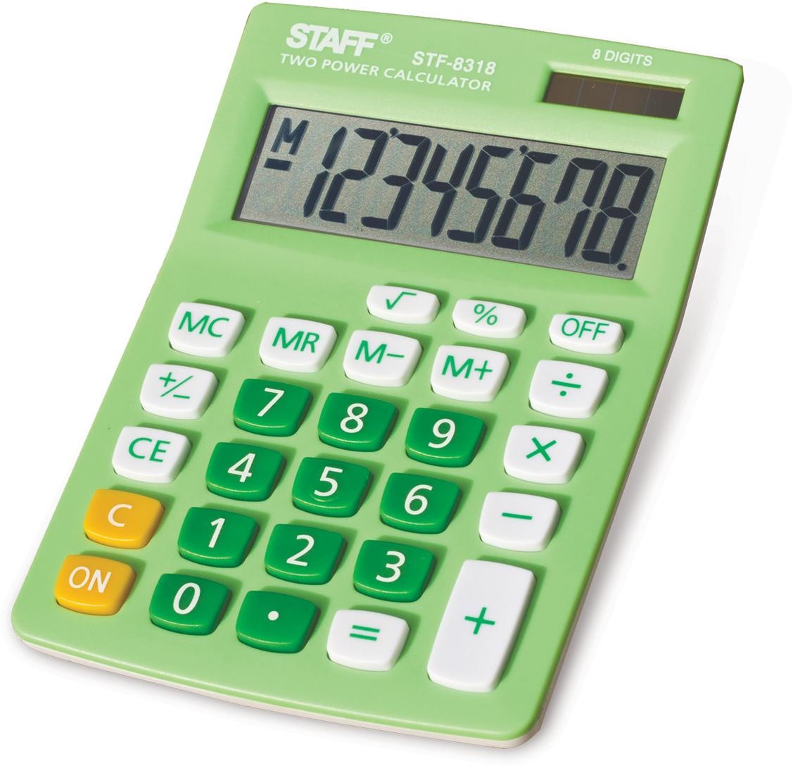 Калькулятор настольный Staff STF-8318, цвет: зеленый канцелярия staff калькулятор карманный stf 6238