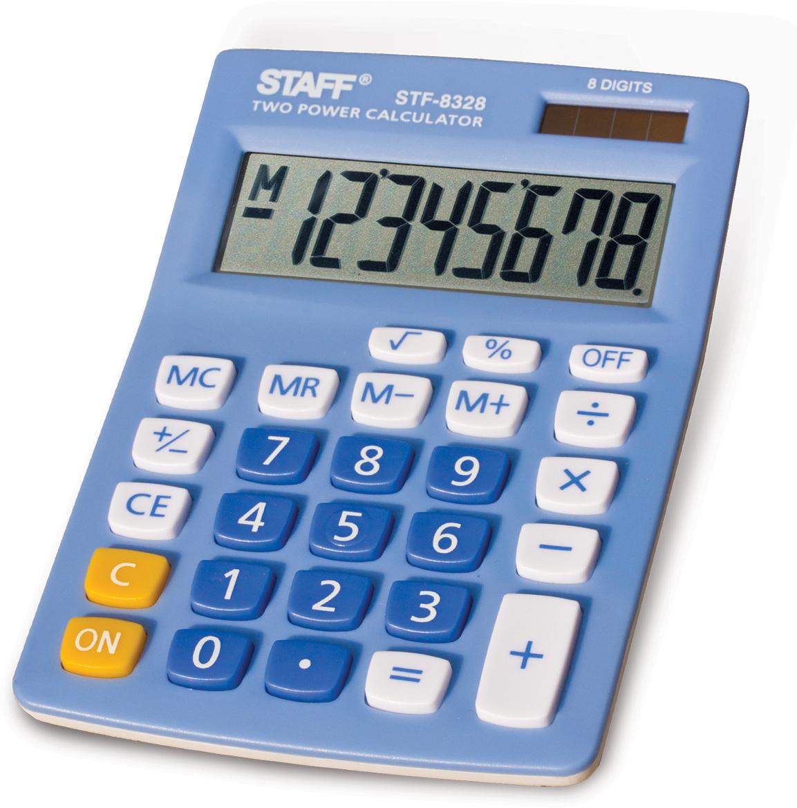 Калькулятор настольный Staff STF-8328, цвет: голубой канцелярия staff калькулятор карманный stf 6238
