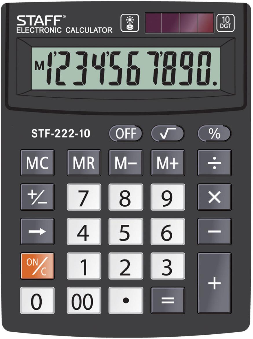 Калькулятор настольный Staff Plus STF-222, 10 разрядов калькулятор staff stf 310