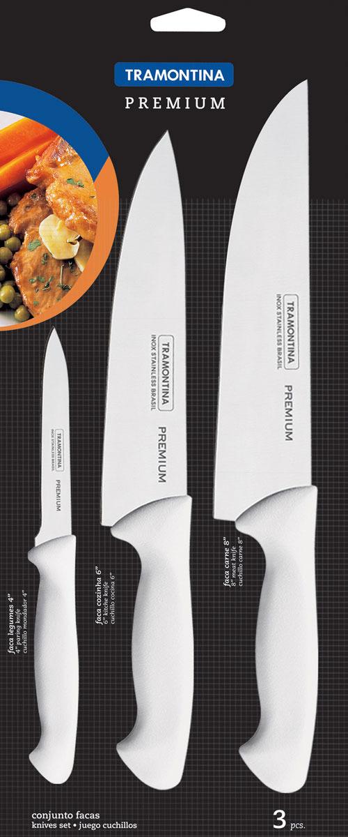 Набор ножей Tramontina Premium, 3 предмета. 24499/811-TR24499/811-TRНабор из трех ножей Премиум. Литая рукоятка из полипропилена выполнена в удобной для хвата форме, сталь ножа с многократной закалкой будет служить вам долгие годы. В набор входят нож для овощей и фруктов, Нож для мяса и Шеф нож!