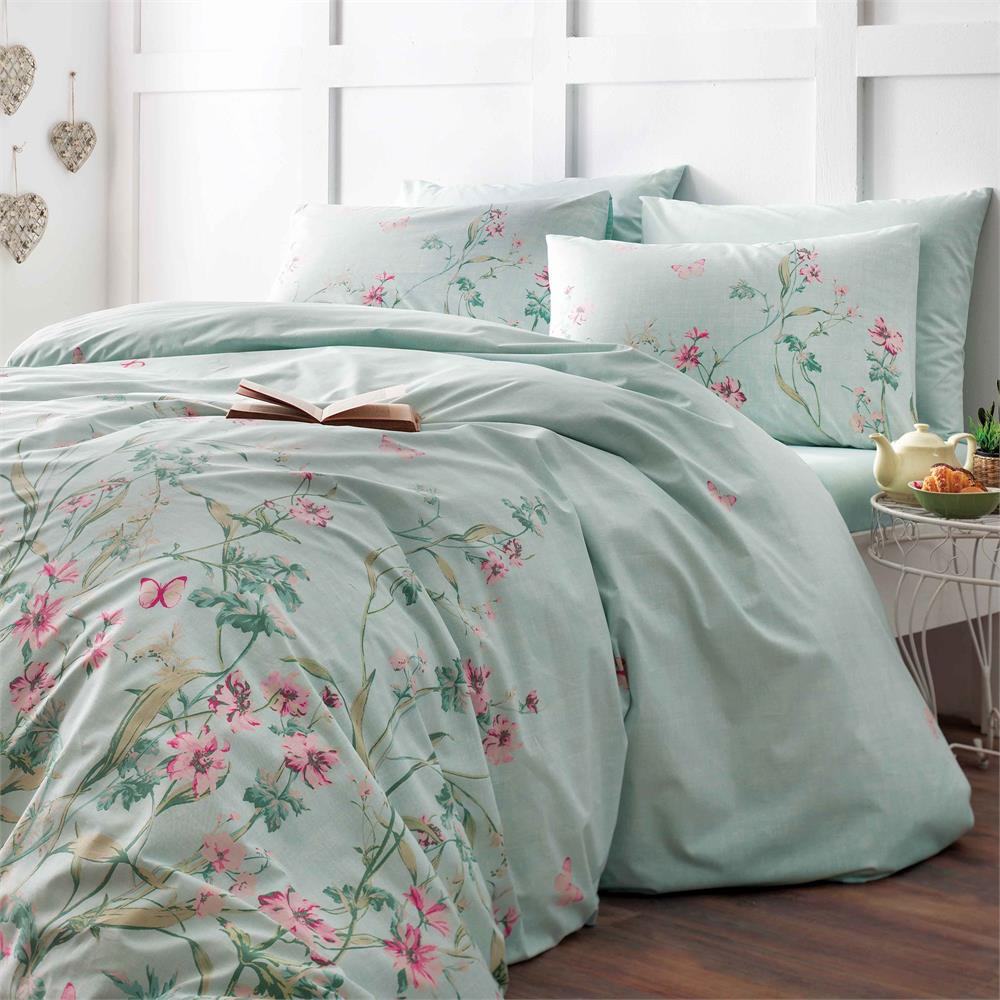 Комплект белья ТАС Flores, 1,5-спальный, наволочки 50x70, цвет: мятный. 4080-34516