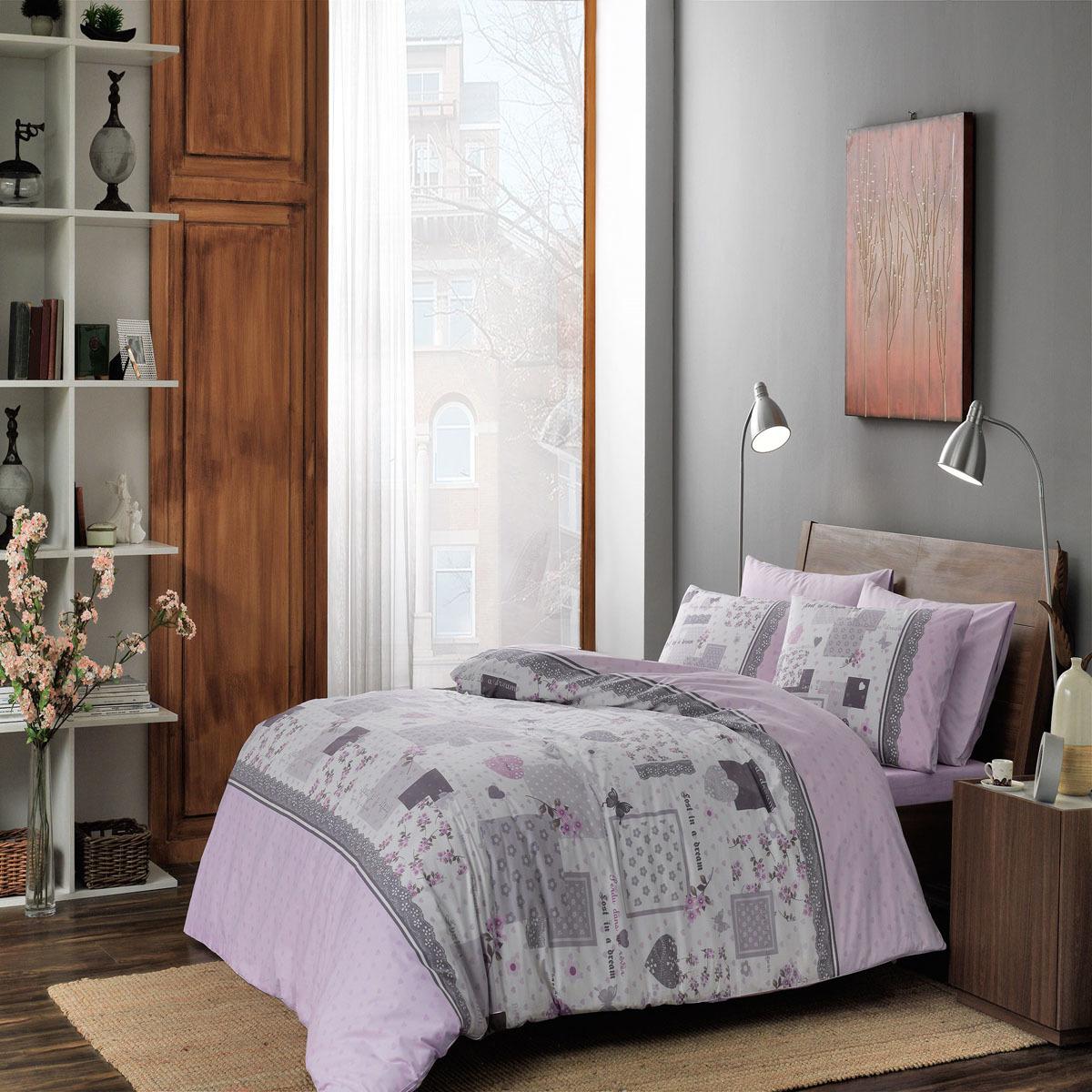 Комплект белья ТАС Elora, 1,5-спальный, наволочки 50x70, цвет: лиловый. 4080-34522