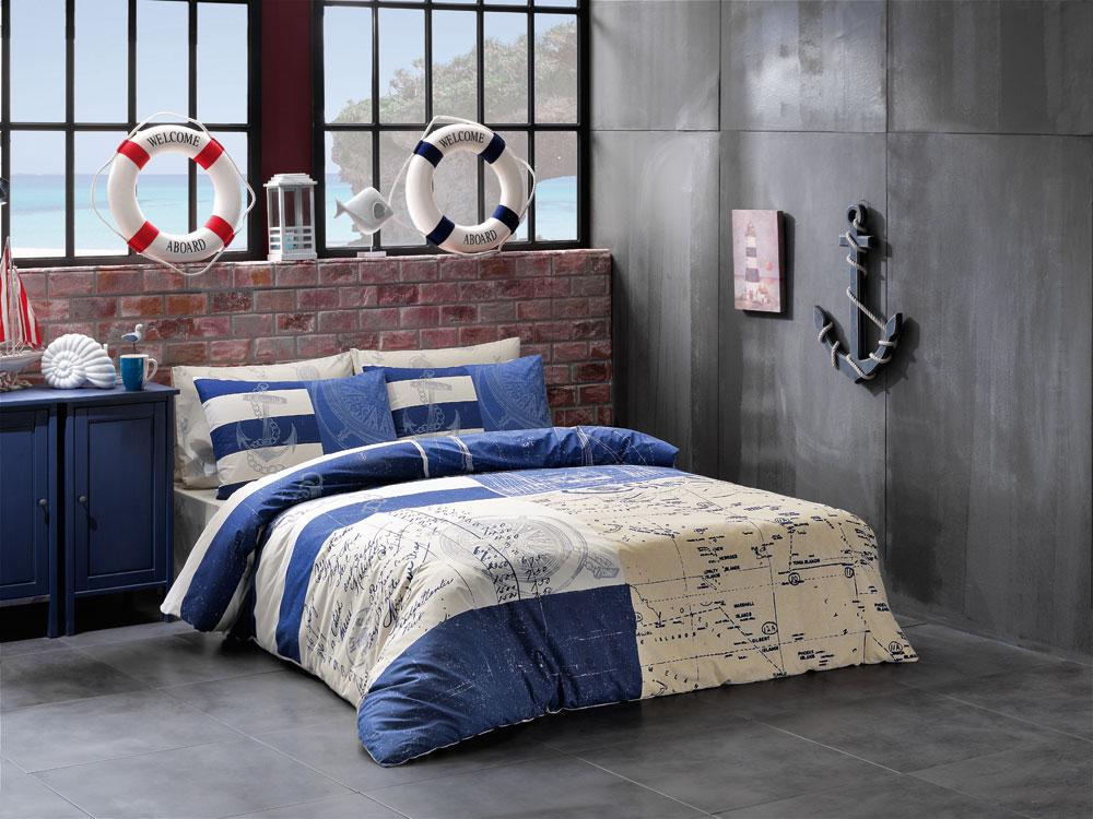 Комплект белья ТАС Saylor, семейный, наволочки 50x70, цвет: синий. 4082-34533