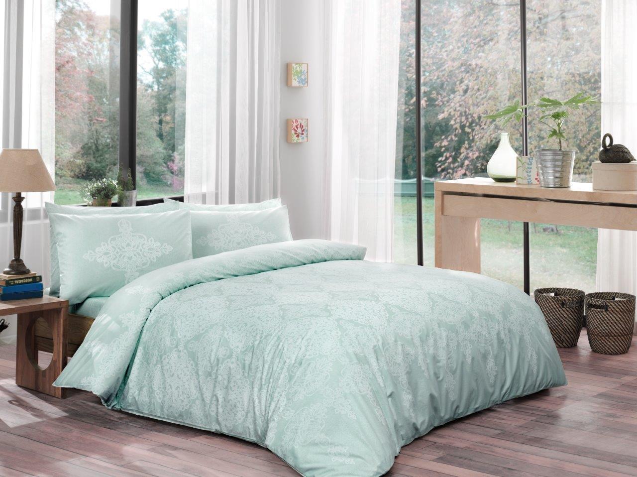 Комплект белья ТАС Blanche, 1,5-спальный, наволочки 50x70, цвет: мятный. 4080-45426
