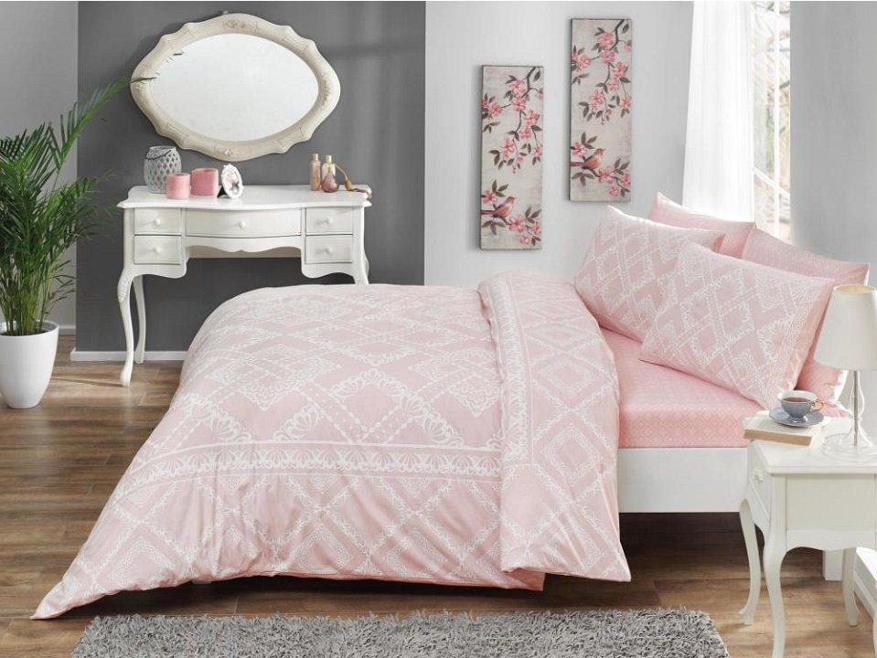 Комплект белья ТАС Celia, 1,5-спальный, наволочки 50x70, цвет: розовый. 4080-45462