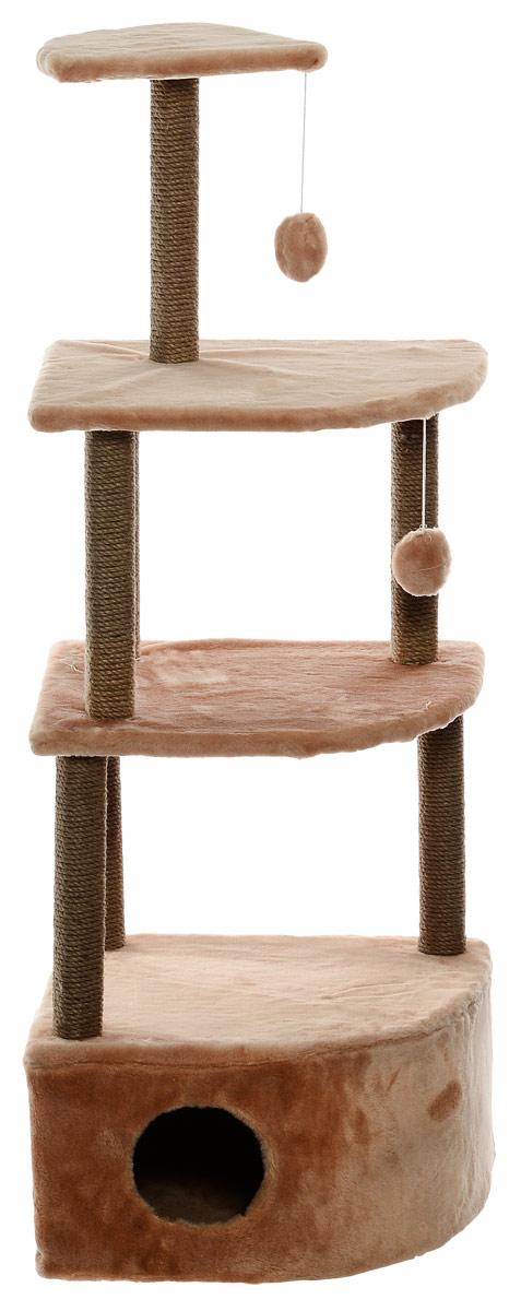 Домик-когтеточка Меридиан, угловой, 4-ярусный, цвет: светло-коричневый, 55 х 48 х 158 см домик когтеточка меридиан угловой с игрушками цвет светло серый 65 х 41 х 131 см