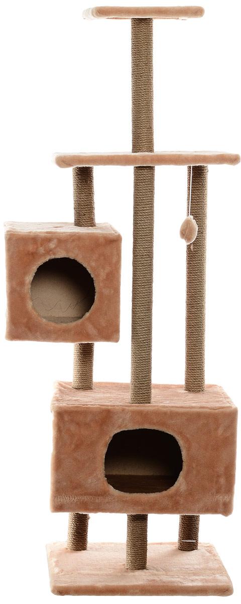 Домик-когтеточка Меридиан, квадратный, с площадкой и полкой, цвет: светло-коричневый, 65 х 51 х 173 см домик когтеточка меридиан квадратный трехэтажный с полкой цвет светло коричневый 65 х 36 х 105 см