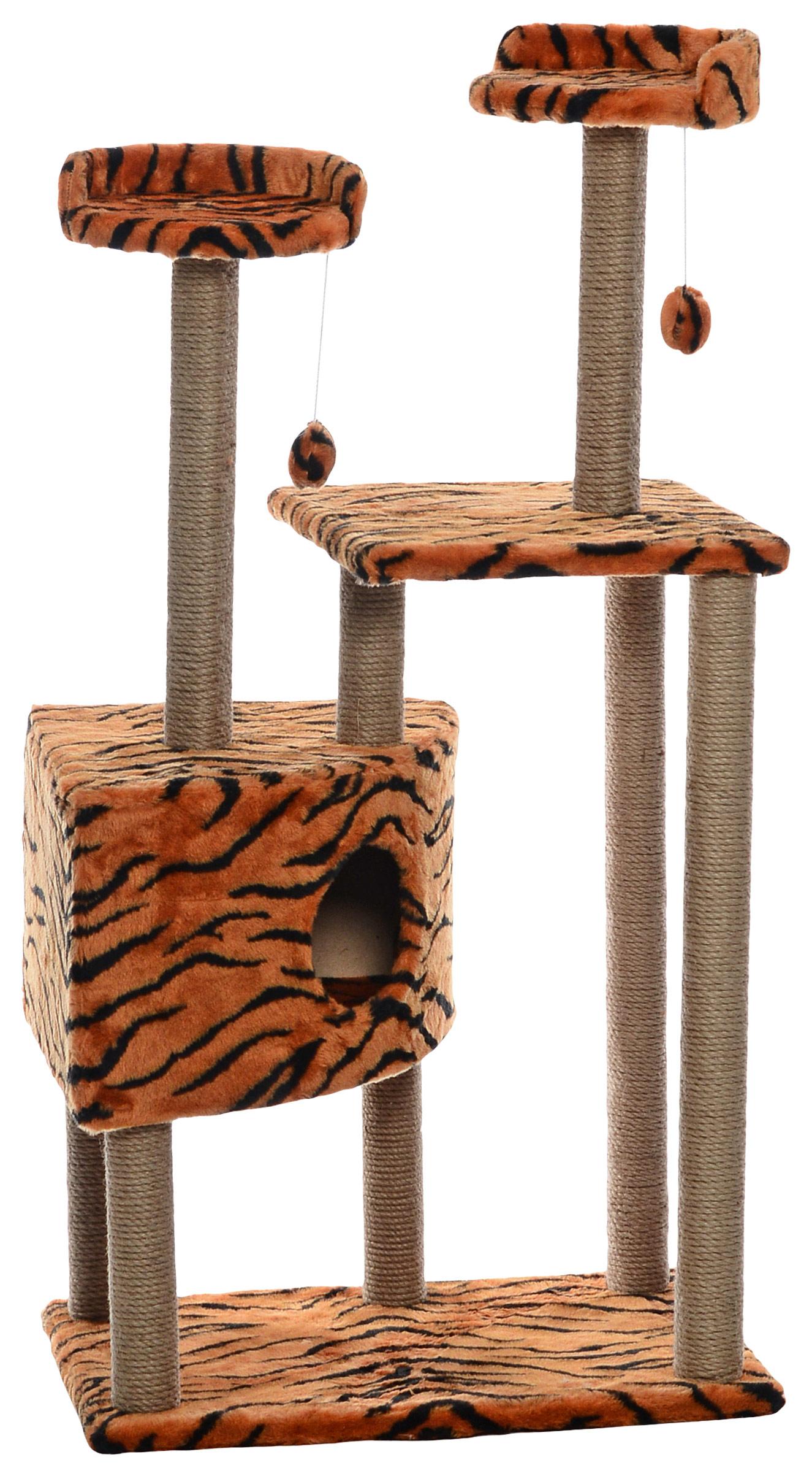 Домик-когтеточка Меридиан Угловой. Тигровый, с игрушками, 65 х 41 х 131 смД450 Т