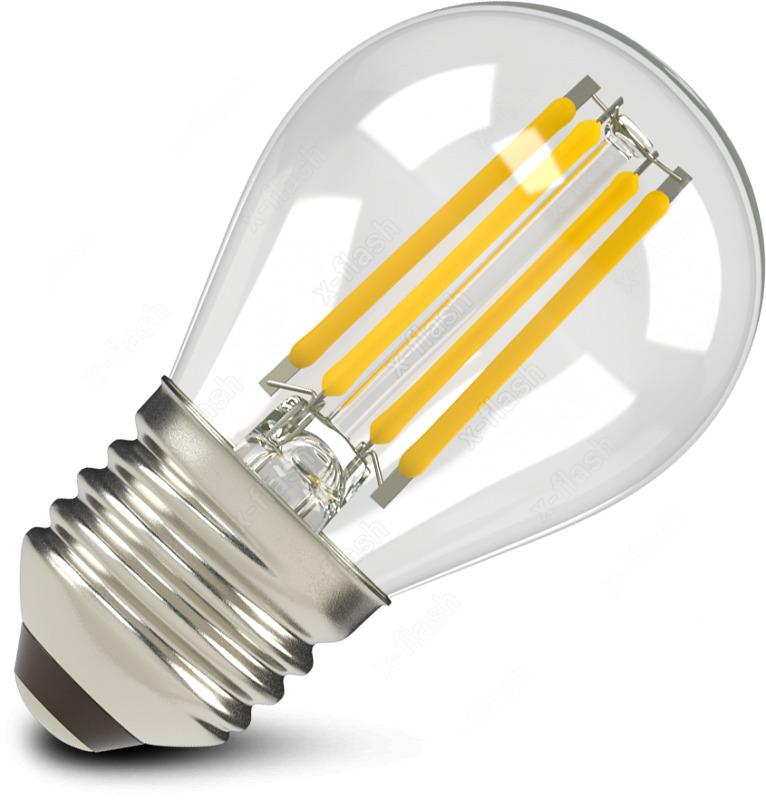 Лампа светодиодная X-Flash XF-E27-FL-G45-4W-2700K-230V47642Светодиодные лампы филамент XF-E27-FL-G45-4W-2700K-230V XF-E27-FL-G45-4W-2700K-230V – это шарообразная светодиодная лампа нового поколения, выполненная из стекла, которая активно применяется в бытовых, общих и локальных целях для аварийного или декоративного освещения. Имеет стандартный Е27 цоколь, поэтому идеально подойдет для замены стандартной лампы накаливания на 40Вт, притом как предложенный нами аналог при таком же уровне освещения потребляет всего 4Вт. Таким образом вы можете сэкономить порядка 80% затрат на электроэнергию. Важно то, что как и все светодиодные лампы, она мгновенно зажигается, не выделяет тепло и не содержит вредных веществ, что особенно актуально, когда в доме есть дети. Срок службы подобной лампы в десятки раз превышает время работы ламп накаливания – 50 000 часов беспрерывной работы. Может создавать мягкий, приятный теплый свет, от которого совершенно не устают глаза. Рекомендуем!