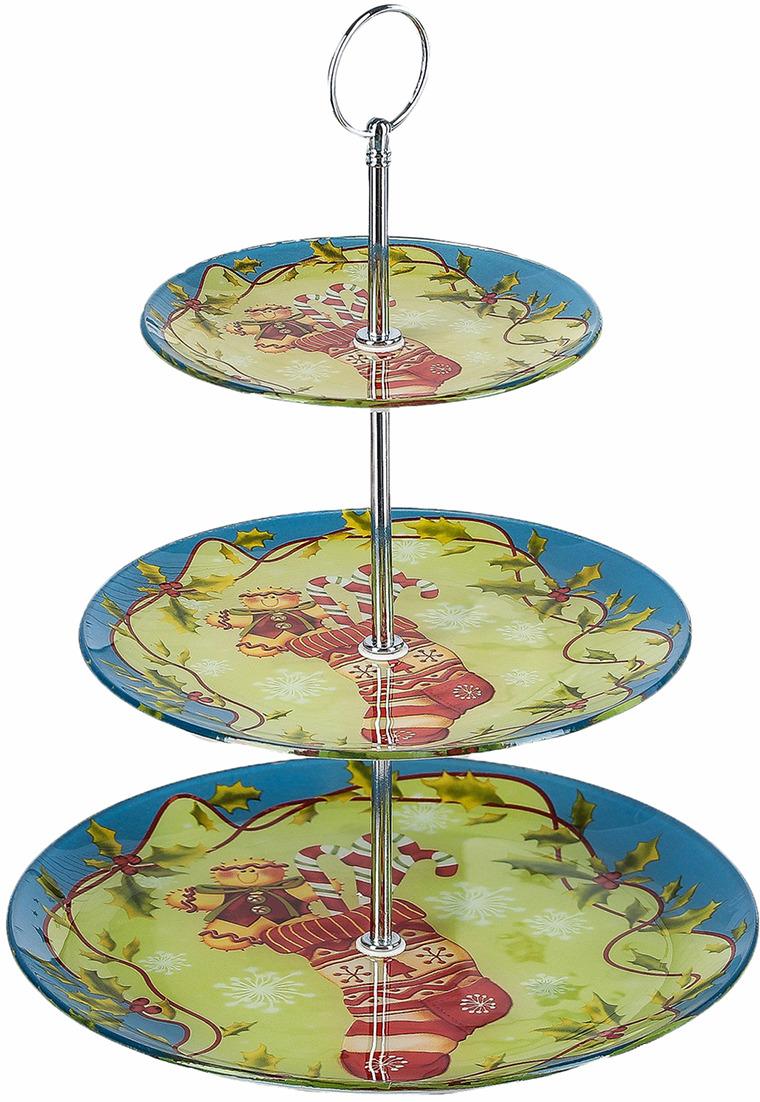 """Блюдо Доляна """"Новогодний носок"""", 3 яруса, круглое, 25 х 33 см"""