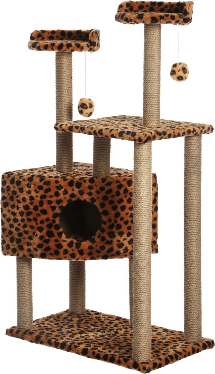 Домик-когтеточка Меридиан Угловой. Леопардовый, с игрушками, 65 х 41 х 131 см домик когтеточка меридиан угловой с игрушками цвет светло серый 65 х 41 х 131 см