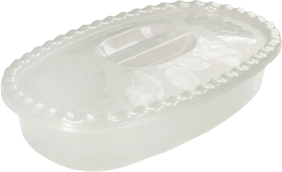 Миска Idea, цвет: белый ротанг, с крышкой, 2,7 л миска plast team с крышкой цвет пурпурный 3 2 л