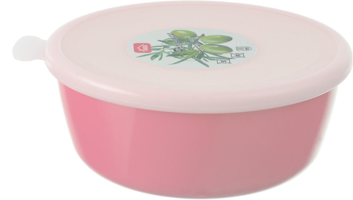 Миска Idea Прованс, цвет: чайная роза, с крышкой, 1 л