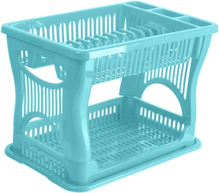 Сушилка для посуды Idea, двухъярусная, цвет: аквамарин. М 1175