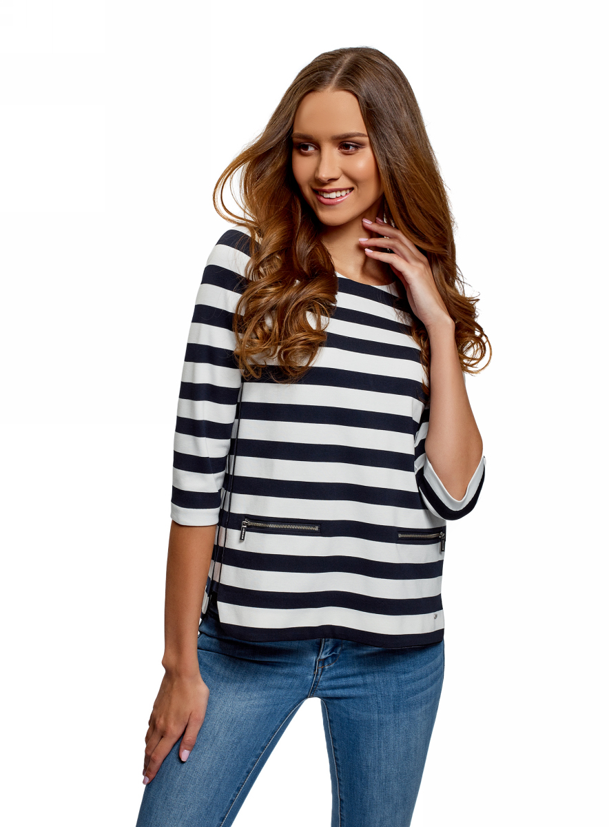 Футболка oodji Collection футболка женская oodji collection цвет темно синий белый 24708006 16651 7912f размер xs 42