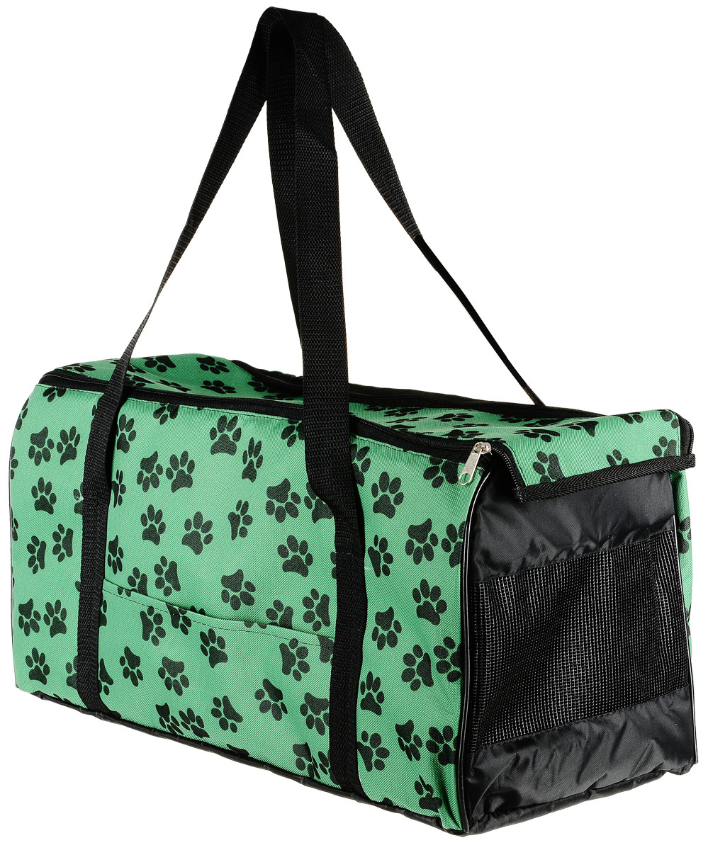 Сумка-переноска для животных Теремок Лапы, цвет: зелный, черный, 48 х 22 х 25 см сумка переноска для животных elite valley батискаф с отверстием для головы цвет темно синий черный 37 х 14 х 16 см