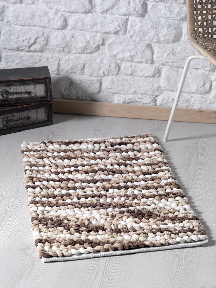 Коврик для ванной Modalin Memsi, цвет: белый, коричневый, 50 x 80 см