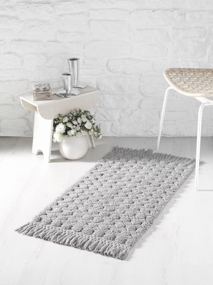 Коврик для ванной Modalin Ponpon, цвет: серый, 50 x 80 см