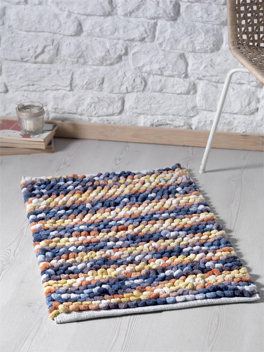 Коврик для ванной Modalin Memsi, цвет: синий, оранжевый, 50 x 80 см