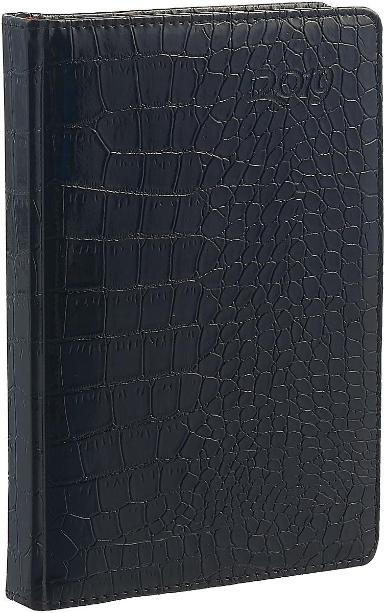 Ежедневник Index Croco 2019, датированный, цвет: черный, A5, 168 листов цена и фото