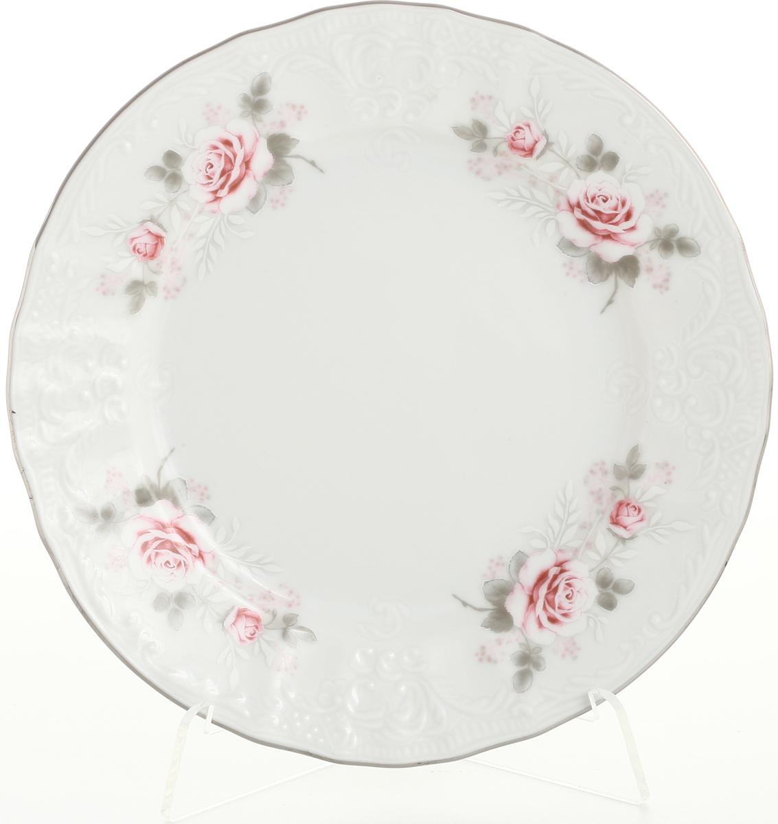 Набор тарелок Bernadotte Серая роза. Платина, диаметр 17 см, 6 шт набор глубоких тарелок bernadotte серая роза золото диаметр 23 см 6 шт