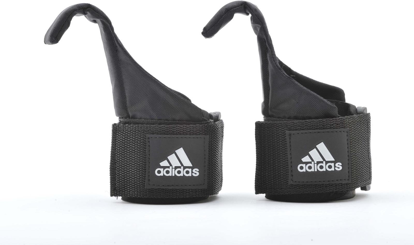 Ремень для тяги Adidas Hook Lifting Straps, с крюком, цвет: черный