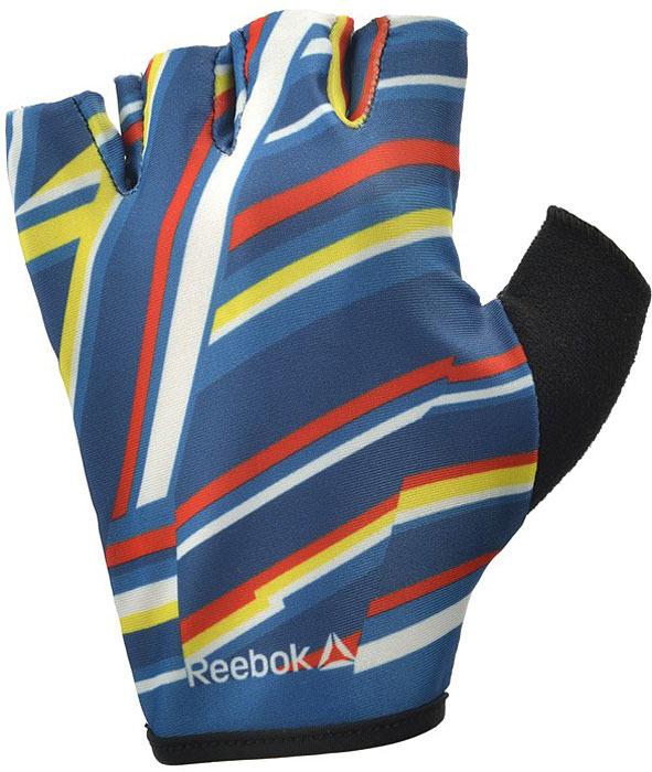 Перчатки для фитнеса женские Reebok, цвет: синий, черный, размер XS