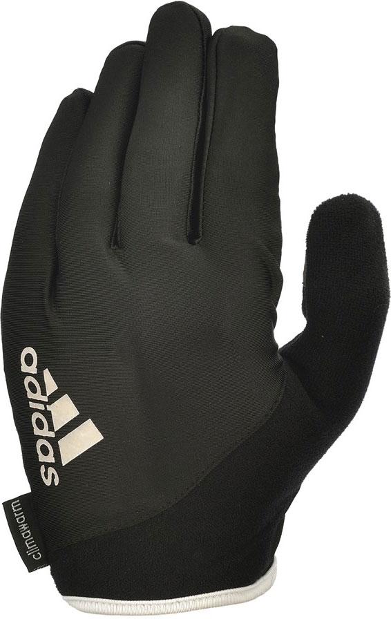 Перчатки для фитнеса Adidas Essential, с пальцами, цвет: черный, белый, размер XL