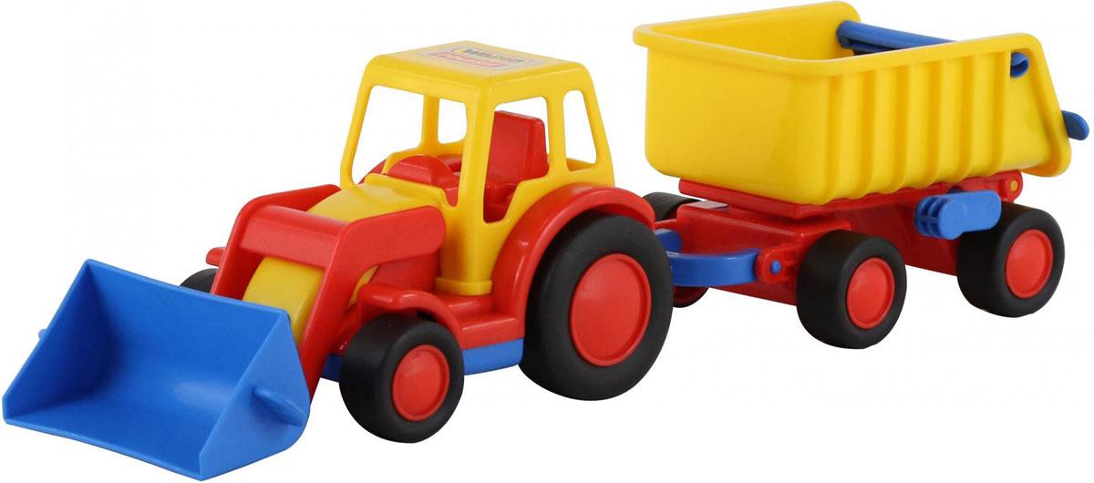 Трактор-погрузчик с прицепом Полесье Базик, цвет в ассортименте строительная техника технопарк трактор с прицепом 1801c 1bcd r 17 см