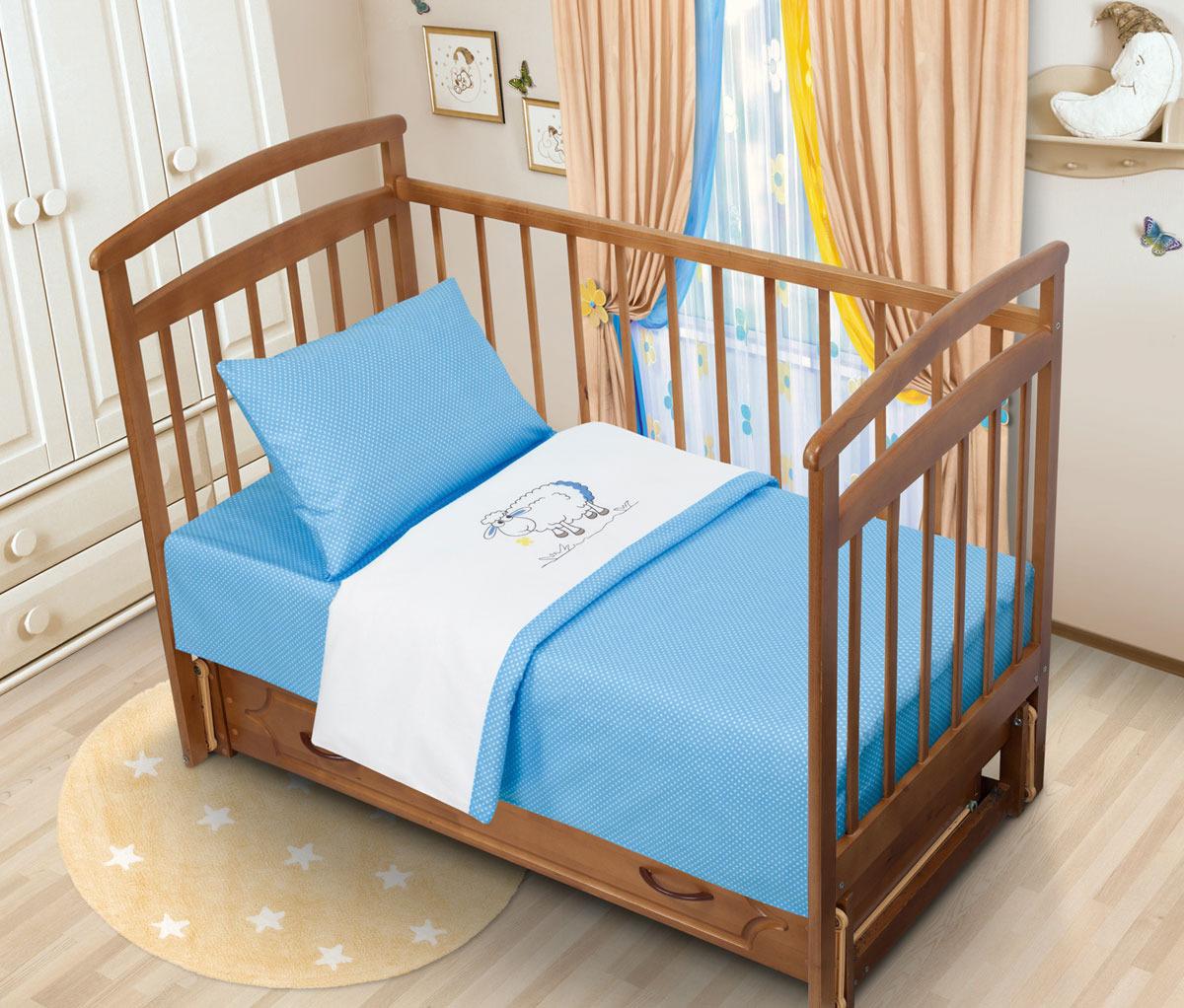 все цены на Детский комплект постельного белья Tatkraft Овечка Ламми, с вышивкой, перкаль, цвет: голубой онлайн
