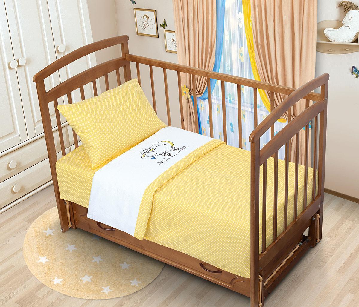 все цены на Детский комплект постельного белья Tatkraft Овечка Ламми, с вышивкой, перкаль, цвет: желтый онлайн