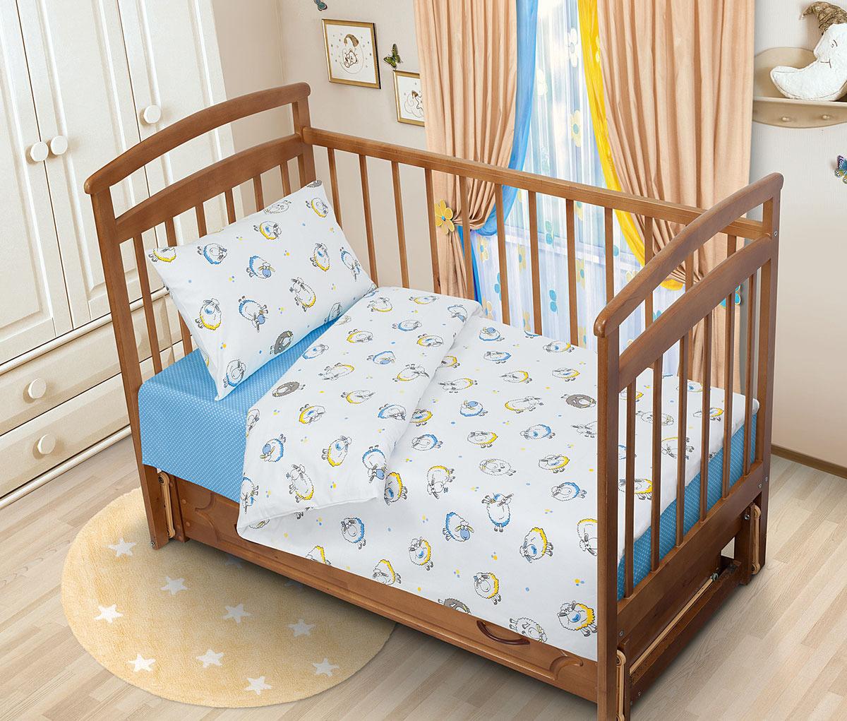 все цены на Детский комплект постельного белья Tatkraft Овечка Ламми, перкаль, цвет: голубой онлайн