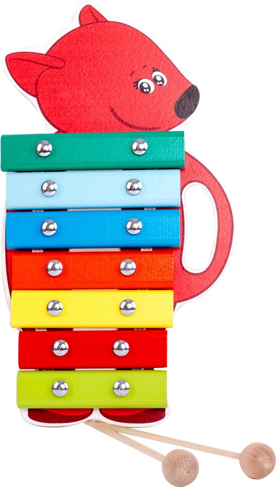 Музыкальная игрушка Ми-ми-мишки ЛисичкаBBW007Ксилофон в форме лисички Лисички. 7 разноцветных клавиш-нот. 2 палочки для игры, удобная ручка. Береза, нетоксичная краска.