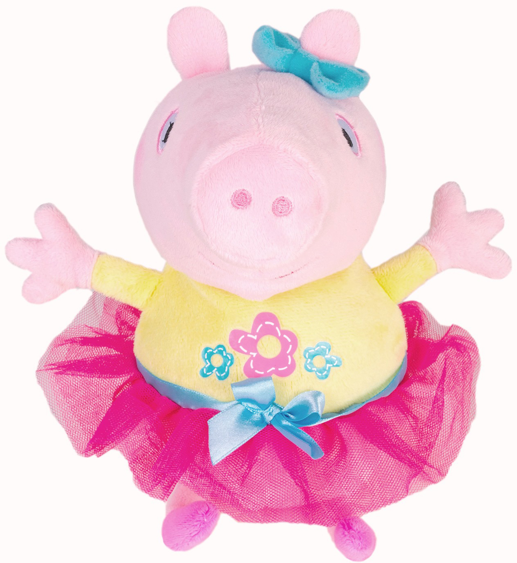 Мягкая игрушка Свинка Пеппа Пеппа играет в прятки, озвученная, 25 см34834Давайте поиграем в прятки с весёлой Свинкой Пеппой! Включите игрушку и спрячьте её. Она будет петь песенки и выкрикивать подсказки, пока ребёнок ищет свинку, идя на её голос. Эта игра отлично развивает слуховое восприятие, логику, мышление, внимательность, поисковые способности и умение ориентироваться в пространстве. А когда малыш найдёт игрушку, она споёт ему забавную песенку. Пеппу легко заметить: она одета в нарядную жёлтую кофточку с цветочками и пышную розовую юбочку. Глазки, носик и ротик качественно вышиты. Игрушка сшита из мягкого, приятного на ощупь плюша, профессионально озвучена на русском языке и говорит голосом Пеппы из мультфильма: при нажатии на животик она произносит 12 весёлых фраз и поёт 2 песенки. Игрушка работает от 3 батареек типа AG13/LR44 (входят в комплект). Высота игрушки: 25 см. Упаковка: открытая коробка.