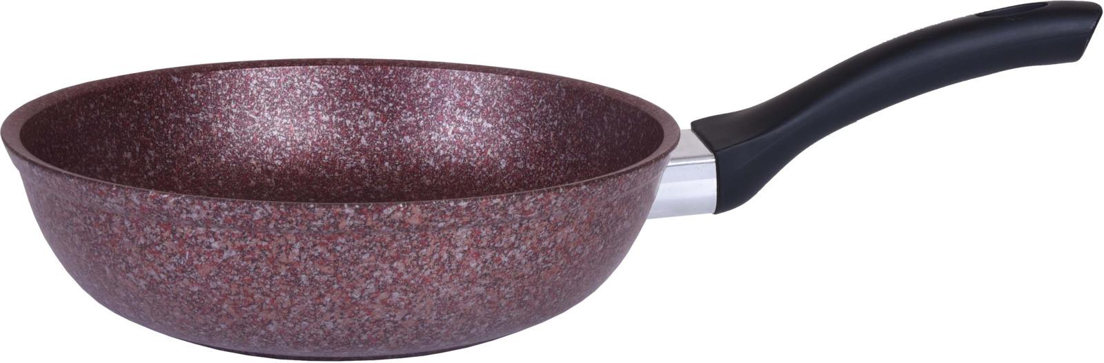 Сковорода Kukmara Granit ultra, с мраморным антипригарным покрытием, цвет: коричнево-красный. Диаметр 26 см сковорода kukmara granit ultra с мраморным антипригарным покрытием со съемной ручкой цвет темно серый диаметр 24 см