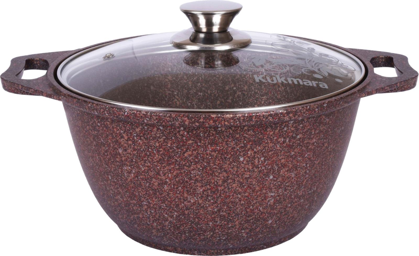 Кастрюля Kukmara Granit ultra, с мраморным антипригарным покрытием, с крышкой, цвет: коричнево-красный, 2 л кастрюля kukmara с крышкой с антипригарным покрытием цвет темный мрамор 3 л