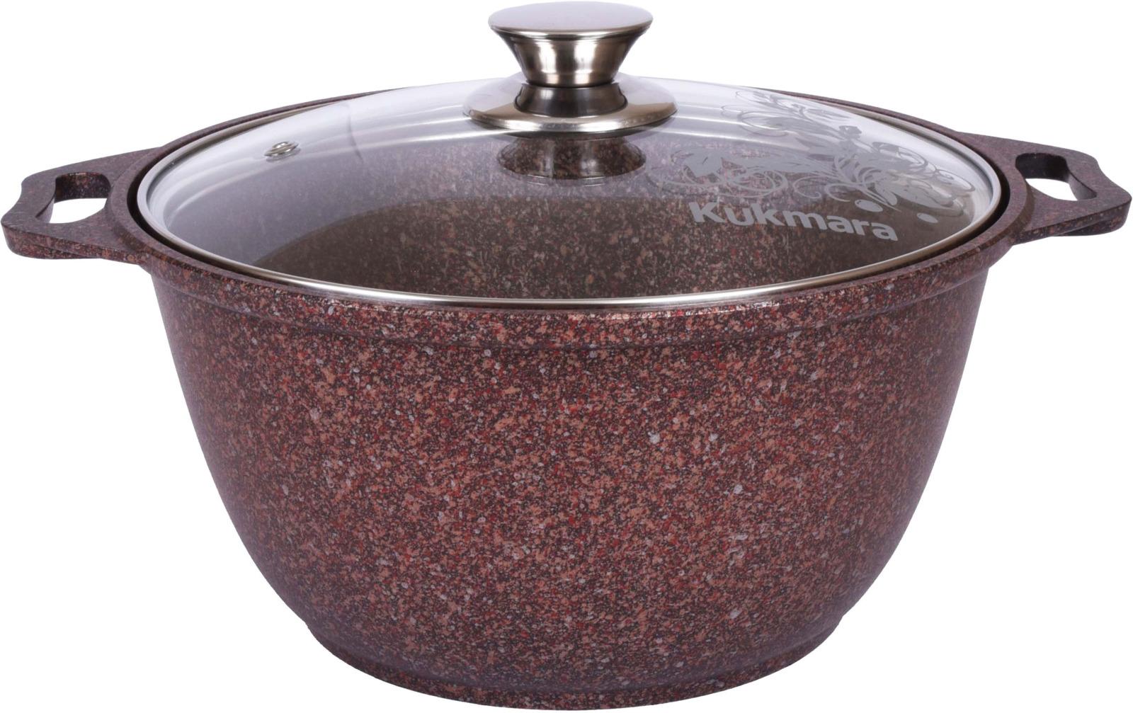 Кастрюля Kukmara Granit ultra, с мраморным антипригарным покрытием, с крышкой, цвет: коричнево-красный, 3 л кастрюля kukmara с крышкой с антипригарным покрытием цвет темный мрамор 3 л