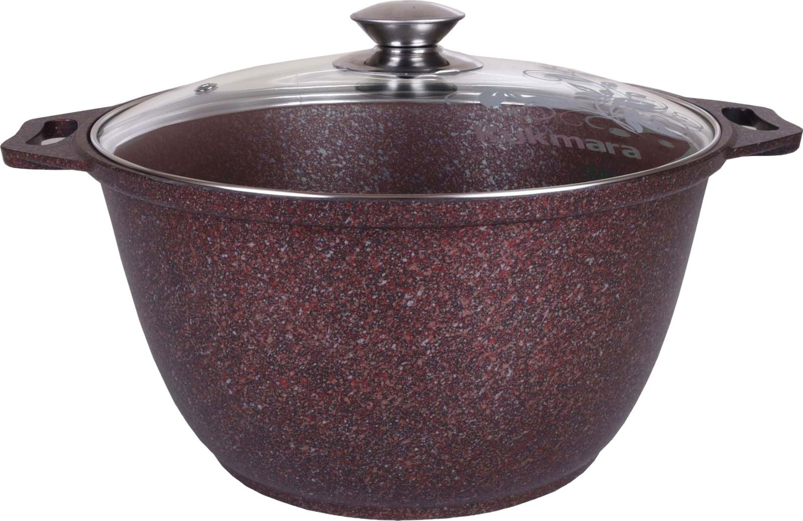 Кастрюля Kukmara Granit ultra, с мраморным антипригарным покрытием, с крышкой, цвет: коричнево-красный, 4 л кастрюля kukmara с крышкой с антипригарным покрытием цвет темный мрамор 3 л