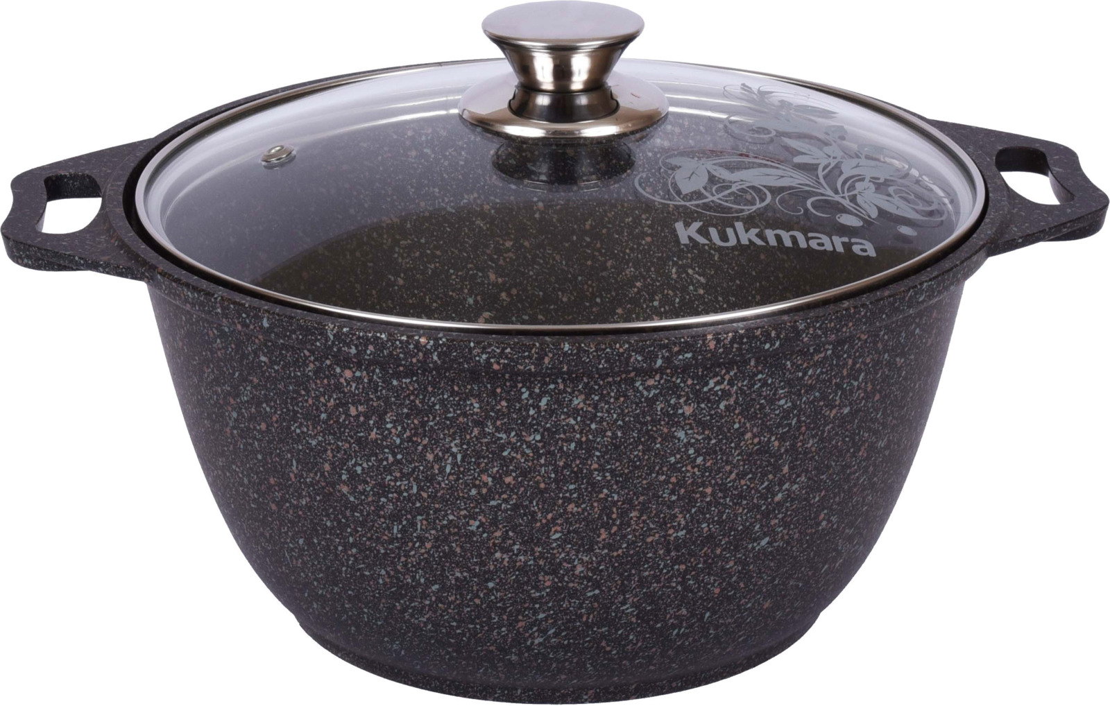 Кастрюля Kukmara Granit ultra, с мраморным антипригарным покрытием, с крышкой, цвет: темно-серый, 3 л кастрюля kukmara с крышкой с антипригарным покрытием цвет темный мрамор 3 л