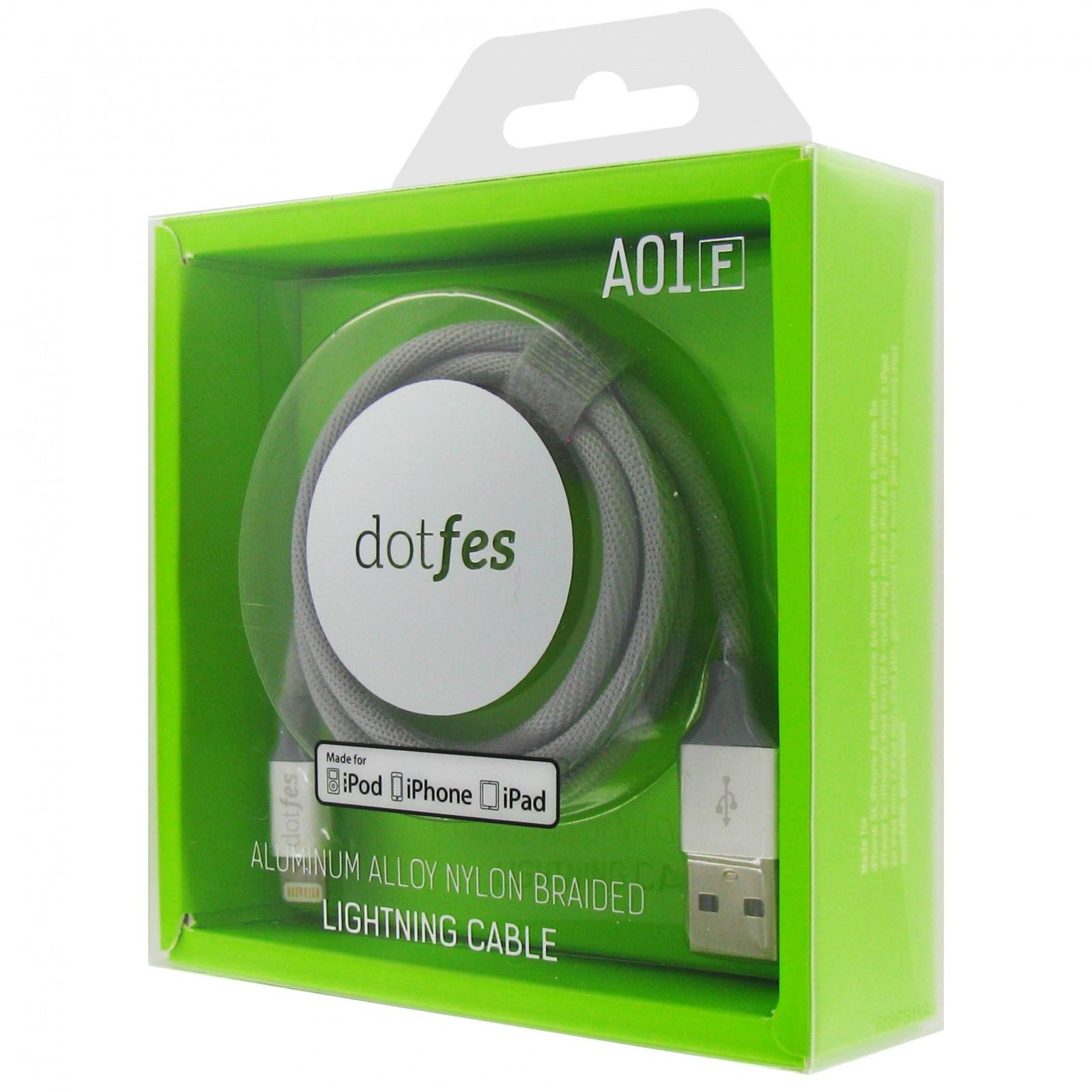 USB кабель Dotfes A01F Lightning MFI (1m), gray аксессуар dotfes usb lightning mfi a01f 2 5a 1m grey 14601